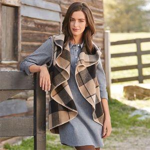 🍁 Mudpie Plaid Blanket Vest Kimono Fall Holiday